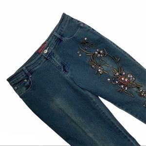 BONNY HIGH FASHION embroidered wide leg jeans